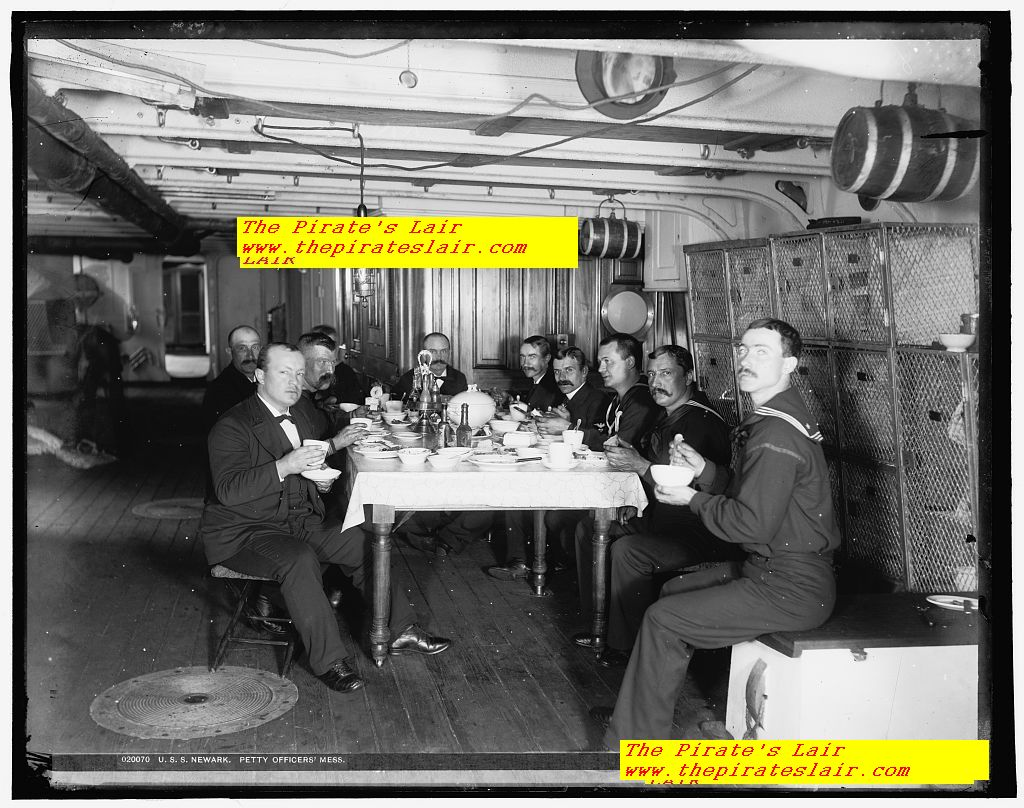 USS Newark Ca 1891-1901 Petty Officers Mess - Note the upscale white china plates, bowls, cruet holding the vinegar and oil, #009