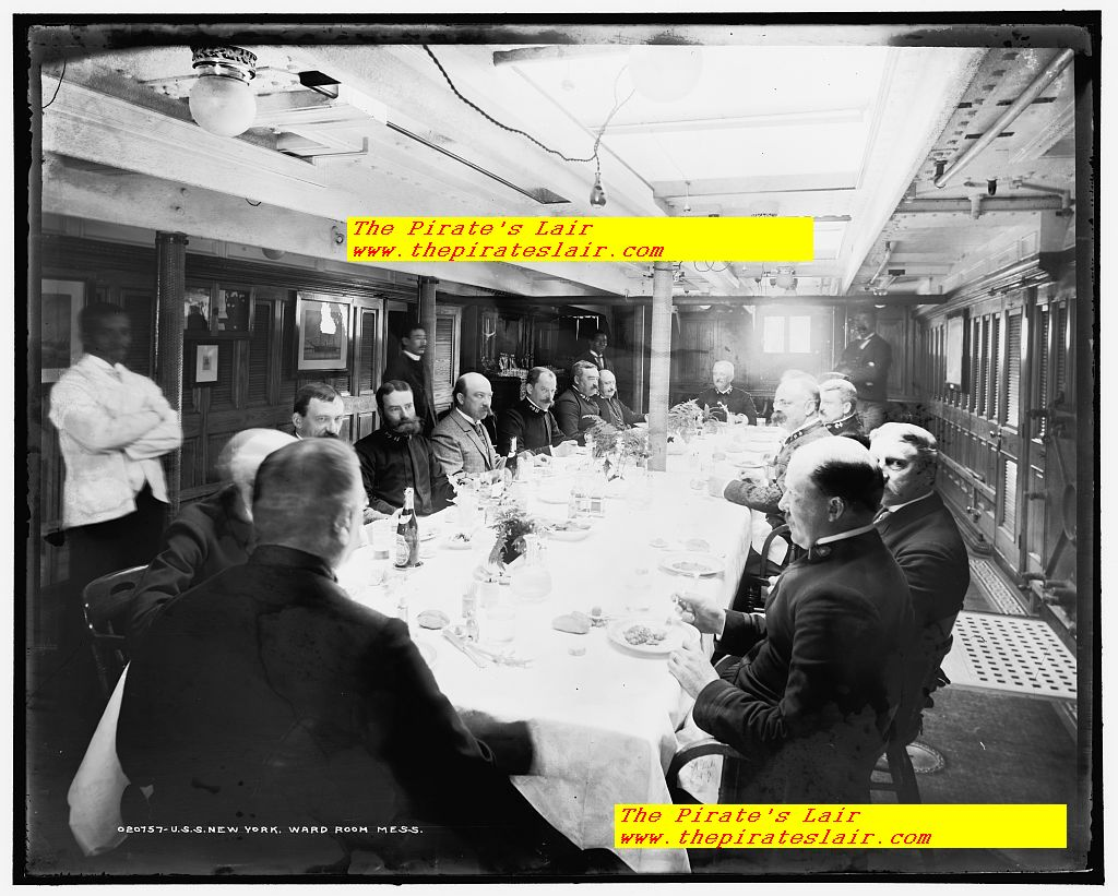 USS New York Ca 1893-1901 Officers Wardroom with Captain Presiding  #010