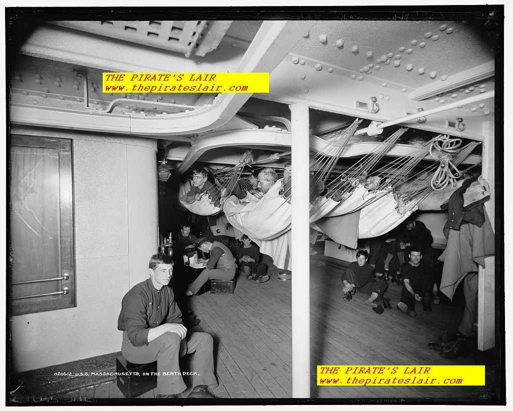 1896-1901 US Marine Berthing Area Aboard the USS Massachusetts - #019