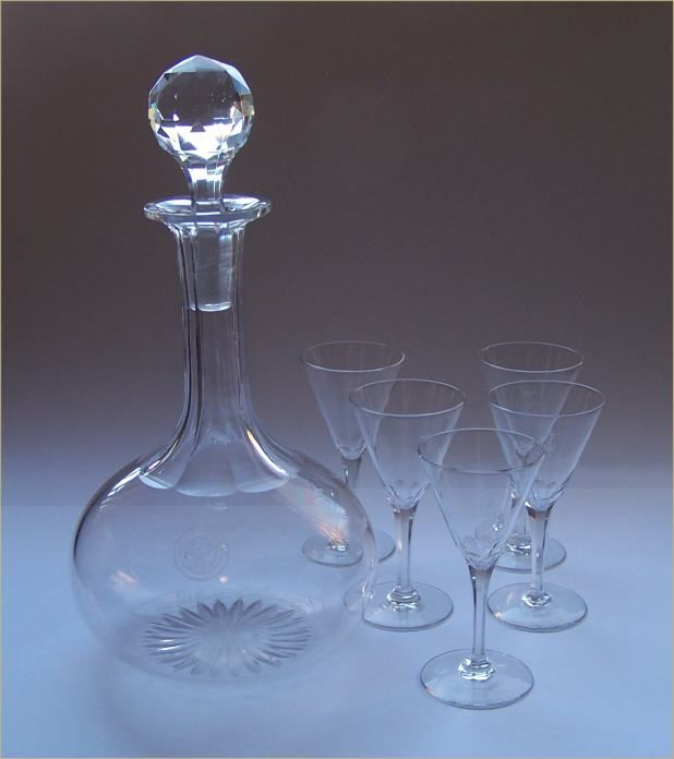 Crystal Decanter department of navy seal and glasses usn monogram