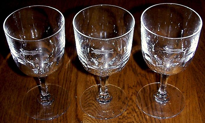 Crystal Wine Glasses with Squareknot Jr Officers Mess Insignia and USN