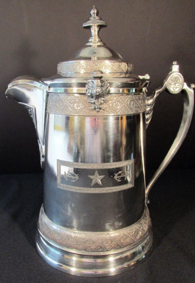 Antique 19th Century US Navy Officers Ice Water Decanter Silverplate Removable Ceramic Liner, 1 star rank