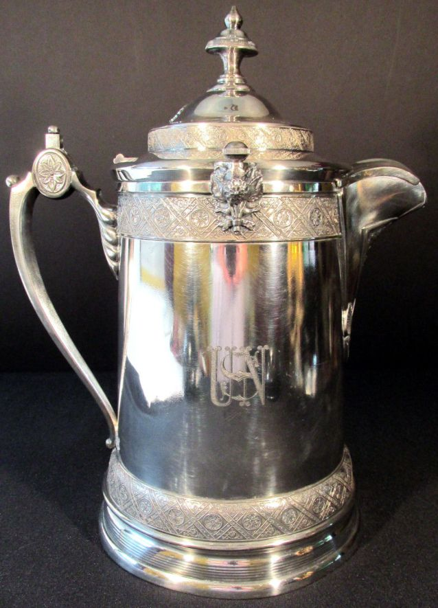 Antique 19th Century US Navy Officers Ice Water Decanter Silverplate Removable Ceramic Liner