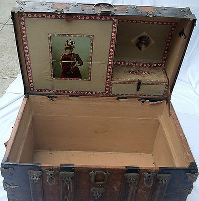 Antique Steamer Trunk #336 BEFORE