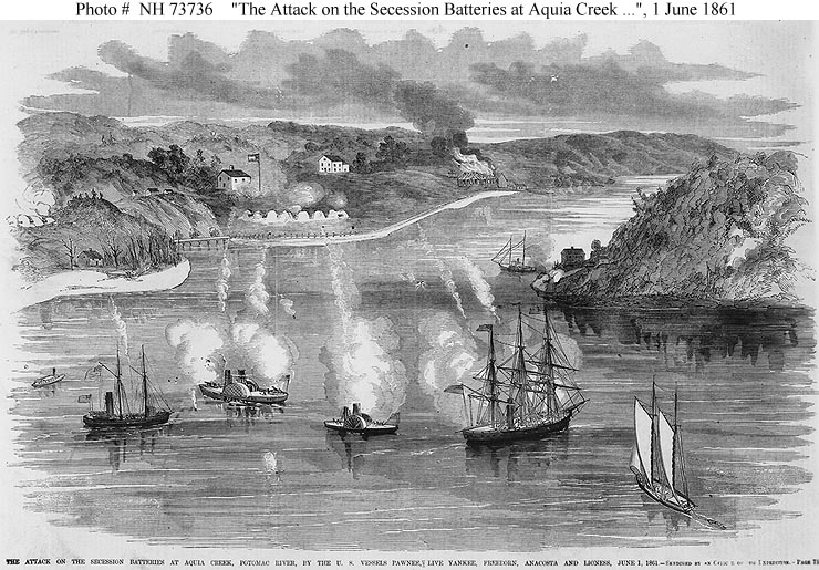aquia landing, aquia creek confederate canon artillery batteries gun boat battle