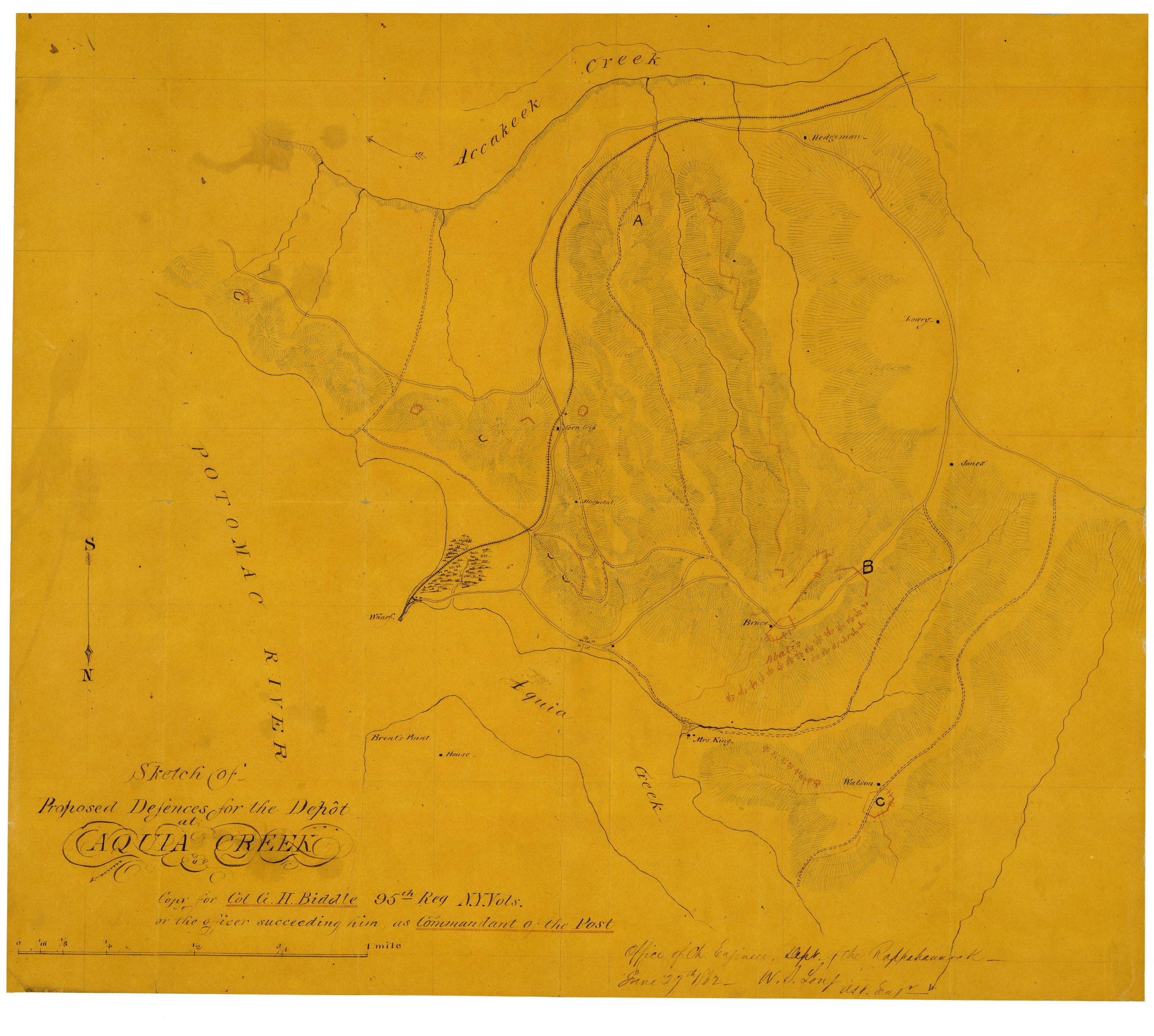 acquia creek landing and canterbury proposed union defenses and rebel artillery emplacements June 1862