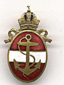 An Oval Pin Hungarian Navy Crown of St. Stephen above a Fouled Anchor