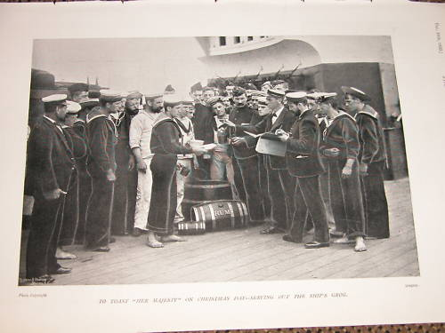 british royal navy serving grog or rum during Boer War of 1899 - Note rum cask on the deck!