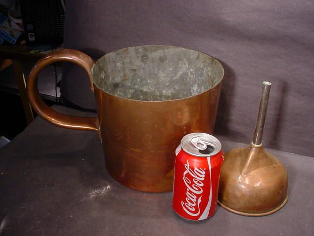 royal navy imperial gallon copper measure, copper funnel and coke can