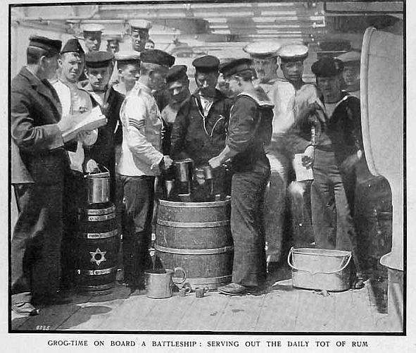 royal navy serving out the grog or rum cups ca 1910