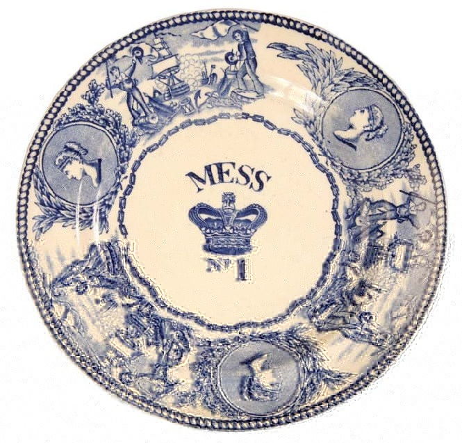 british royal navy mess plate with victoria and crown pattern