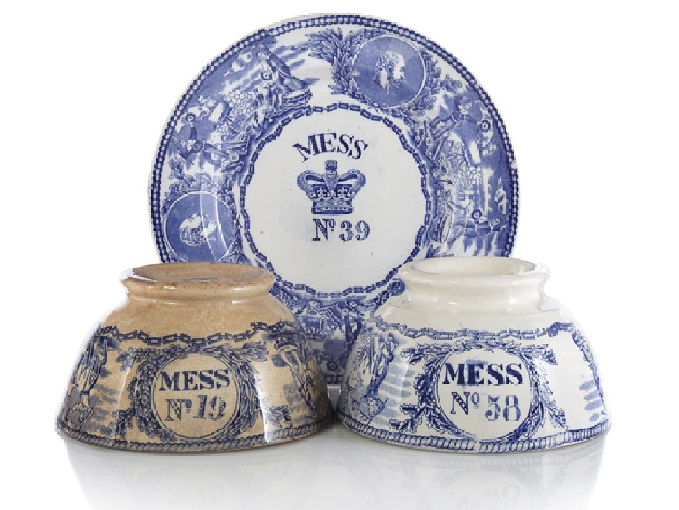 british royal navy young head pattern bowls and plate