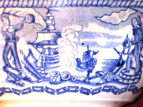 british royal navy mess closeup which appears the two sailors celebrating captured booty with the large ship to the left vanquishing the ship to the right