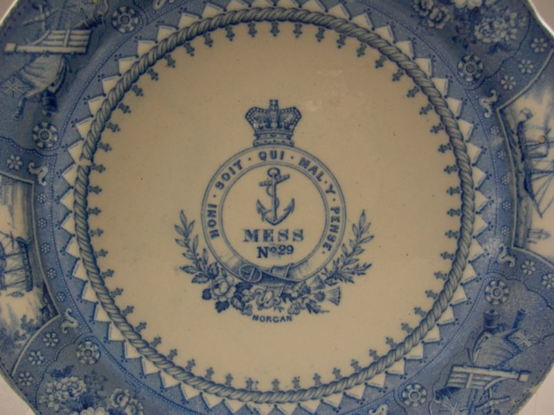 british royal navy plate depicting various naval scenes and crown,anchor,motto center