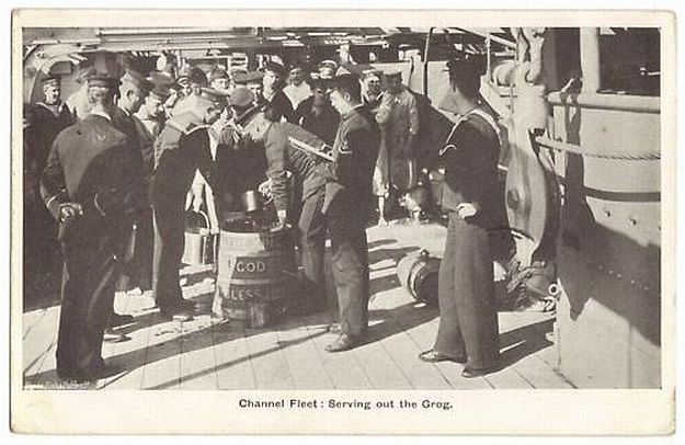 british royal navy serving grog or rum channel fleet circa 1907 - Note rum cask on the deck!