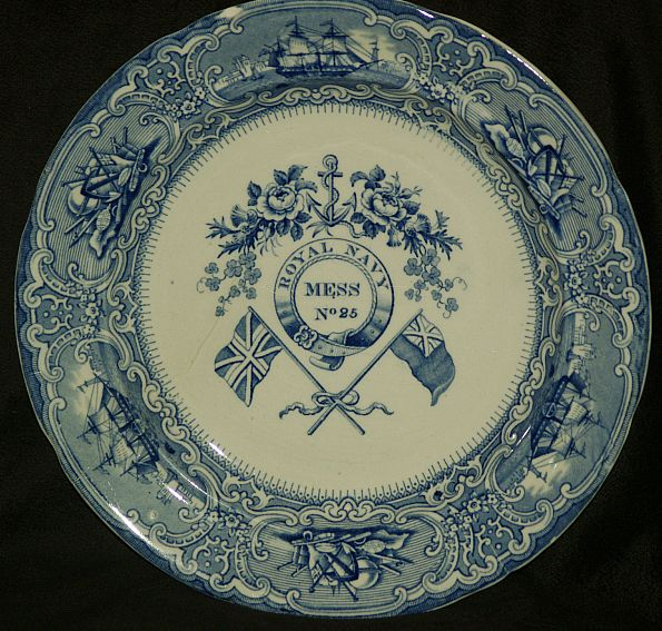 british royal navy mess plate no. 25  Roses, Thistle, Clover, Flags and Anchor pattern