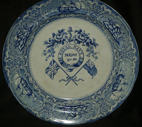 british royal navy mess plate no. 29 Roses, Thistle, Clover, Flags and Anchor pattern