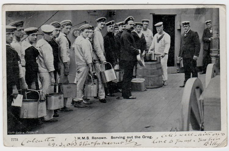british royal navy serving out the rum ration or grog ca 1908