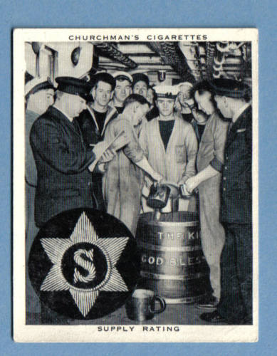 british royal navy serving grog 1937 - Note rum cask on the deck!