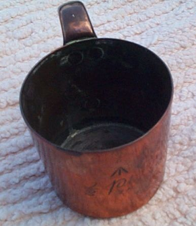 royal navy 1/2 pint copper measure for rum and grog, queen victoria cipher stamp