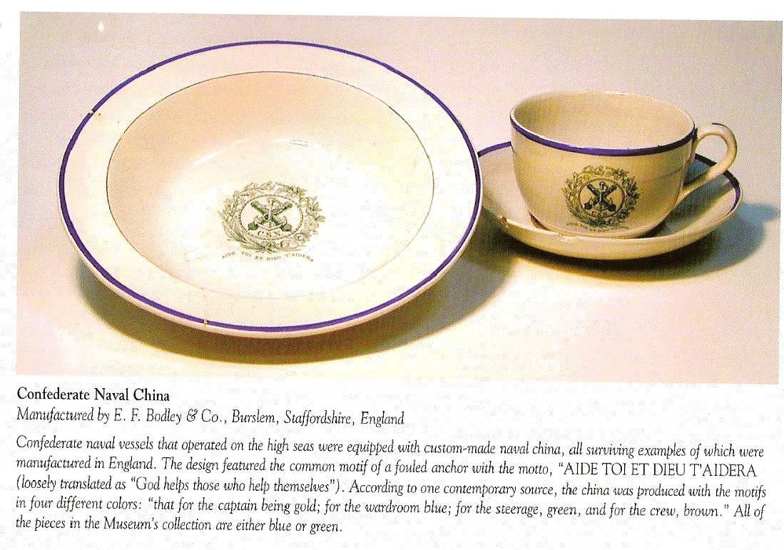 bowl, cup and saucer with CSN Insiginia in Green Trim from the CSS Alabama