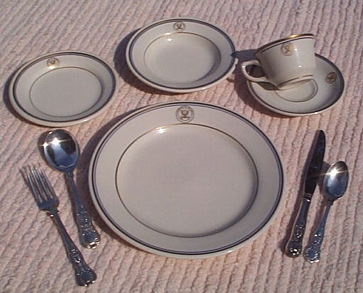 9 Piece Placesetting US Navy Department of Navy Officers Mess China and Silverware