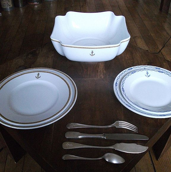 french navy serving bowl and plates for Petty Officer's Mess and Officer's Wardroom