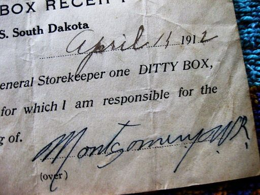 receipt for a ditty box issued to W.R. Montgomery aboard the USS South Dakota dated 1912 this substantiates both use and term as late as 1912 pre-WWI