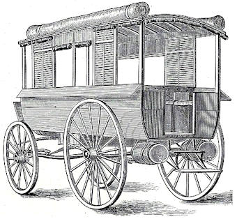 union army civil war ambulance wagons - note barrels under back wheel