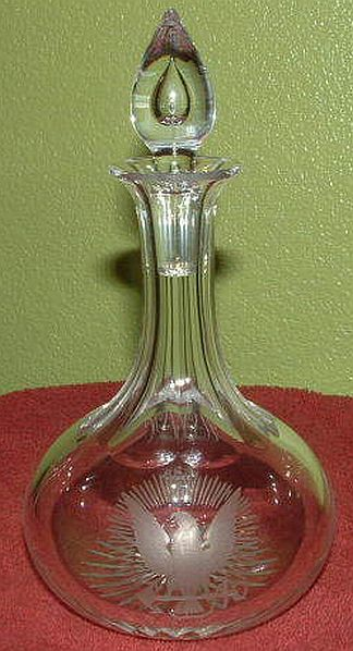 lead crystal liqueur decanter with golden eagle and USN etching