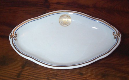 Oblong Candy Dish or Receiving Plate Dated 1918