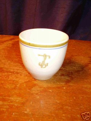 Naval Insignia of Gold Fouled Anchor with Twisted Steel Stock on Demitasse Cup