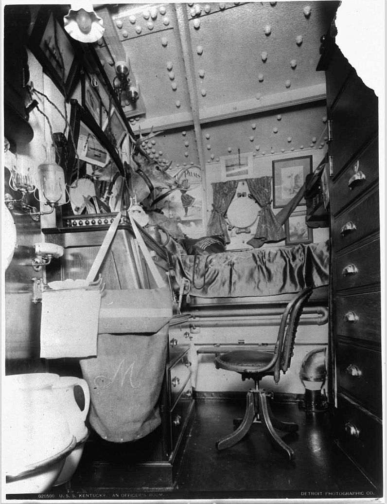 Officers berth aboard the USS Kentucky - note water pitcher, slop jar, soap dishes to the left