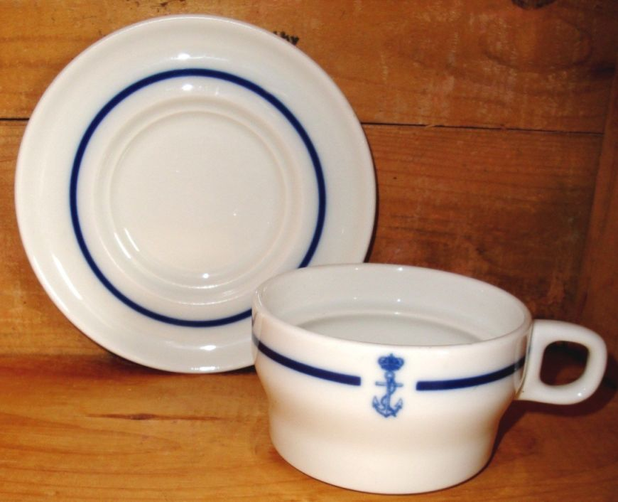 spanish navy coffee cup and saucer showing crown and fouled anchor
