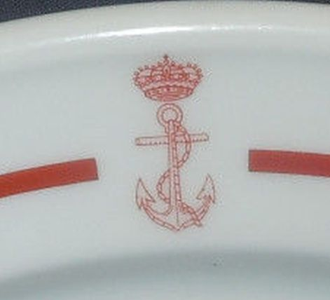 spanish navy dinner plate showing crown and fouled anchor