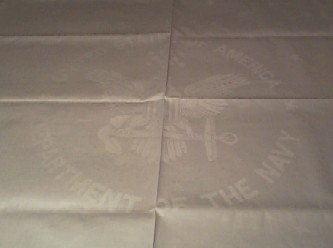 military table linen with u.s. navy seal and anchor