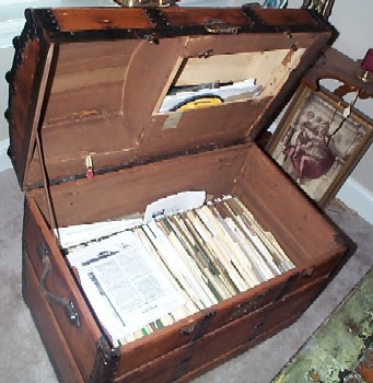sea chest open with files