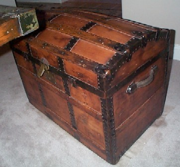 antique trunk sea chest brown, wooden