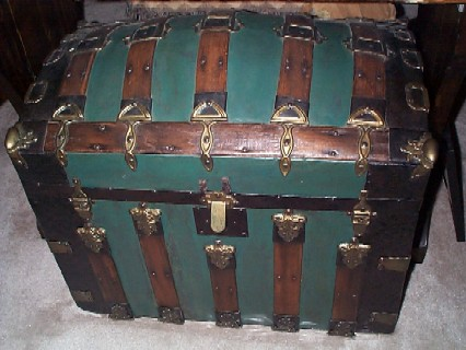 antique trunk sea chest green metal sheathing