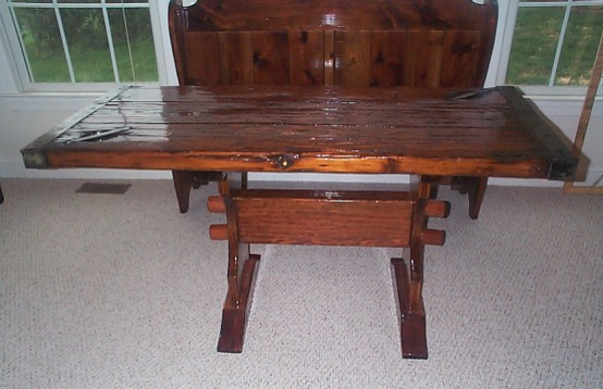 'Nautical Table from restored WW2 Liberty Ship Hatch Cover