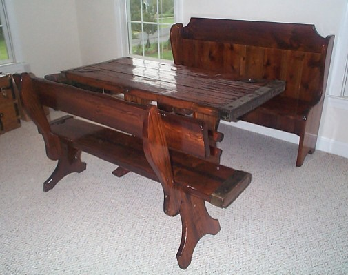 Nautical Table as part of a Bench, Pew, Table Set